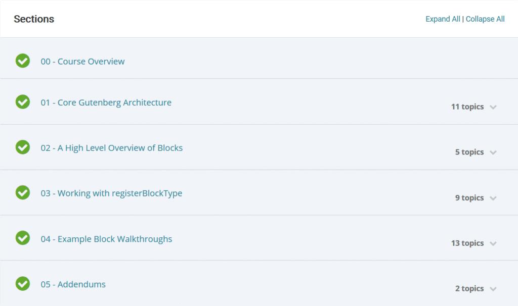 Gutenberg Development Sections