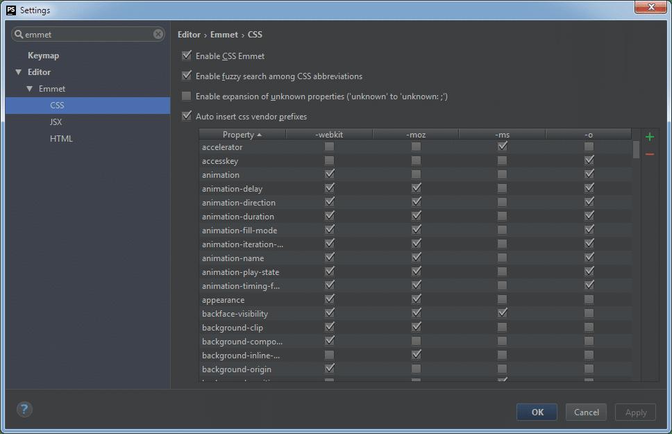 PhpStorm Emmet Settings: CSS