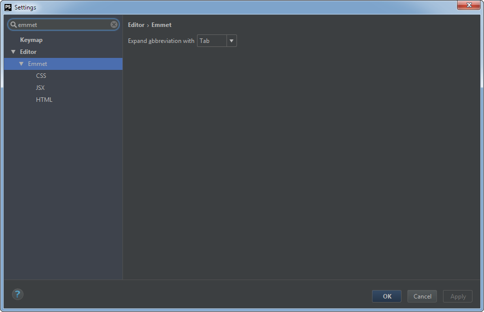PhpStorm Emmet Settings