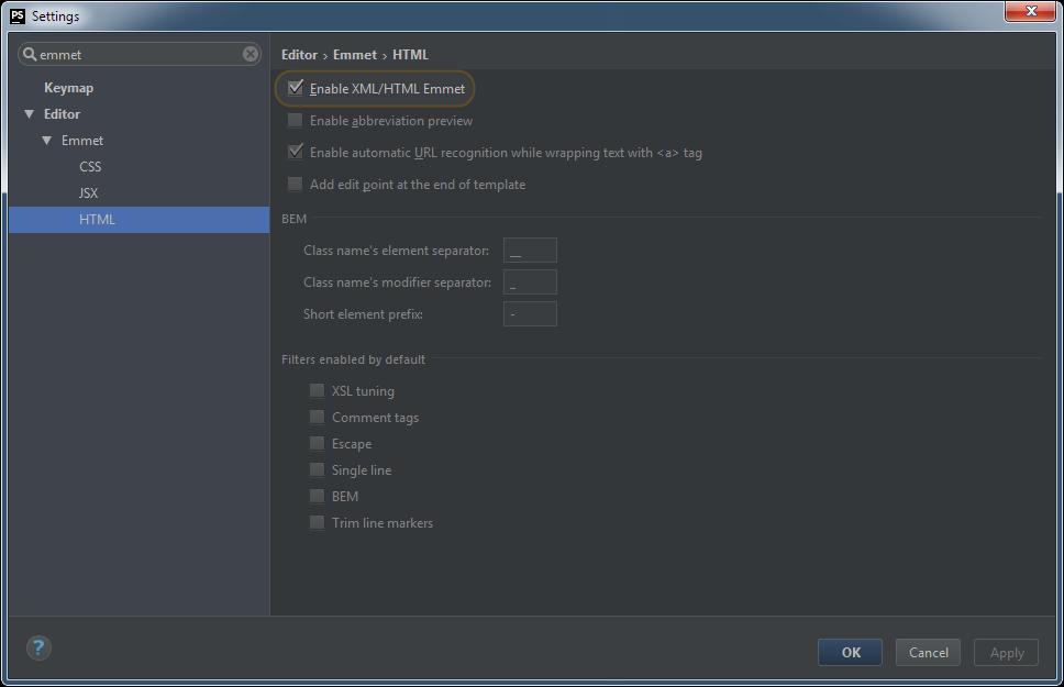 PhpStorm Emmet Settings: HTML