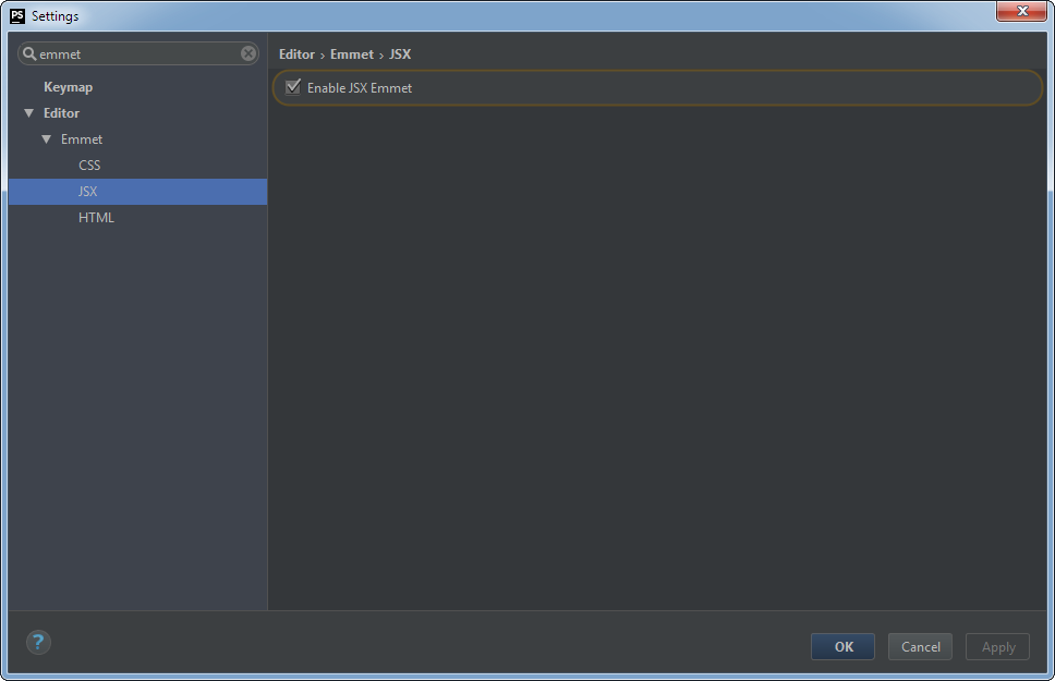 PhpStorm Emmet Settings: JSX